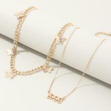 2 Stuecke Halskette mit Schmetterling Dekor