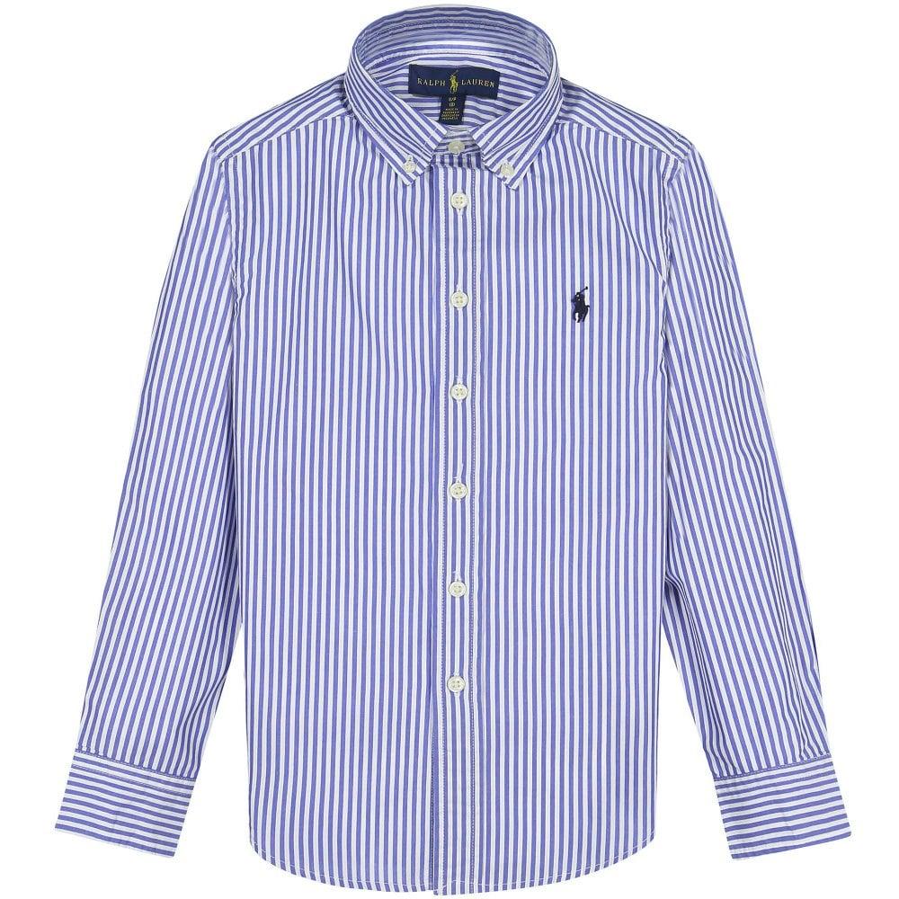 Ralph Lauren Kids Stripe Logo Shirt Colour: BLUE, Size: 16 YEARS
