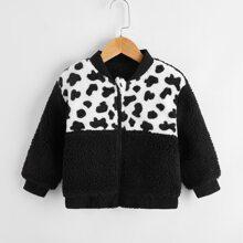 Toddler Boys Cow Print Button Through Teddy Jacket