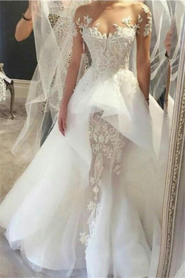 Robes de mariee sexy en tulle et dentelle avec dentelle | Robe de mariee tribunal a manches courtes 2021