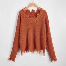 Plus Drop Shoulder Distressed Trim Sweater