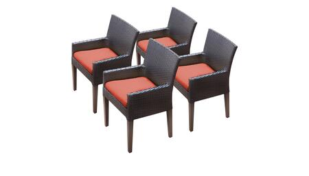 Barbados Collection BARBADOS-TKC097b-DC-2x-C-TANGERINE 4 Dining Chairs With Arms - Wheat and Tangerine