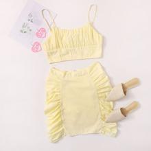 Outfit de dos piezas Drapeado Liso Amarillo Casual
