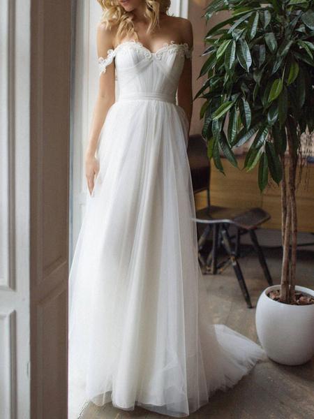 Milanoo Vestidos de novia sencillos de linea A Marfil hombro caido sin mangas cintura natural con pliegues de tul con escote de hombros caidos
