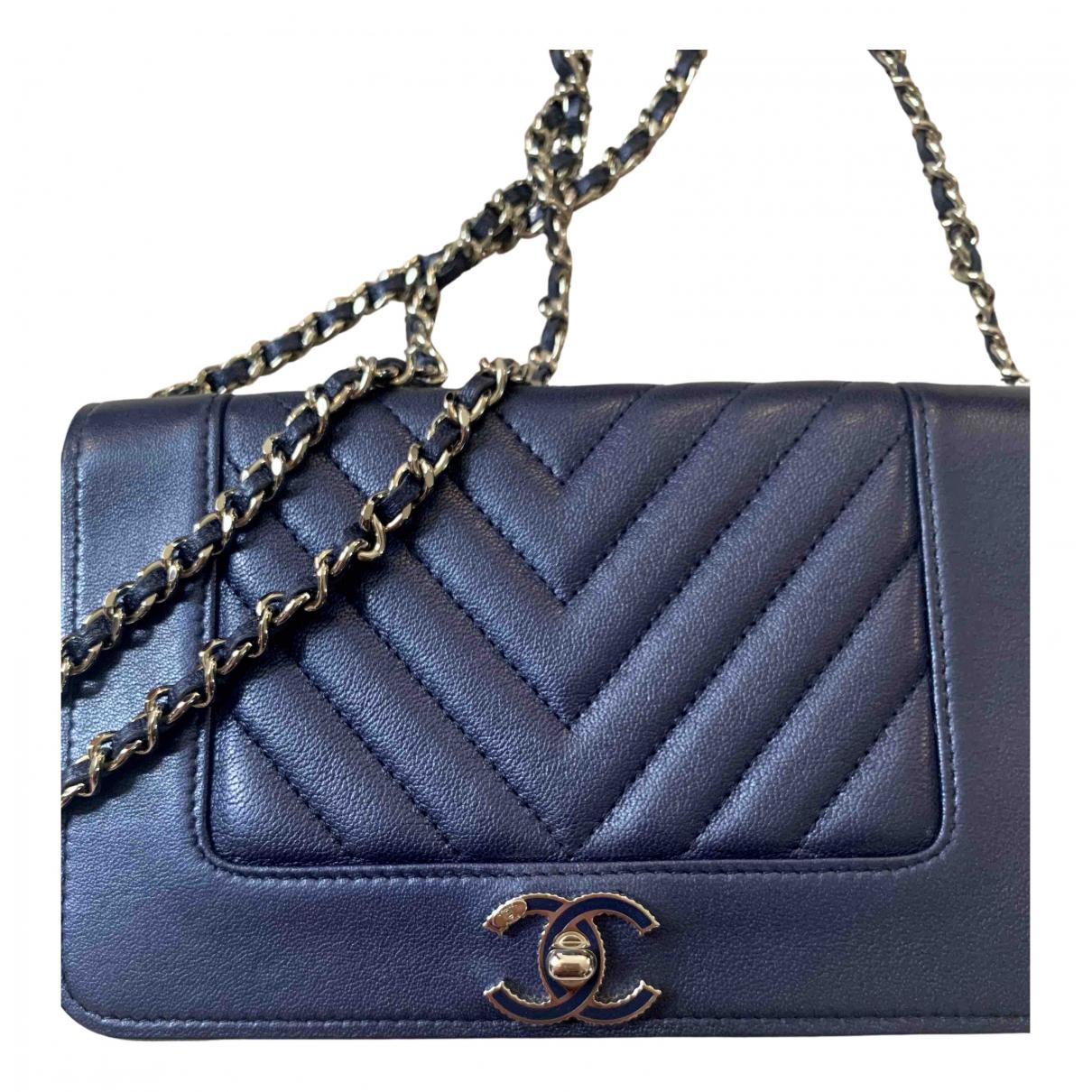 Chanel Wallet on Chain Handtasche in  Marine Leder