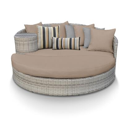 FAIRMONT-WHEAT Fairmont Circular Sun Bed - Outdoor Wicker Patio Furniture with 2 Covers: Beige and