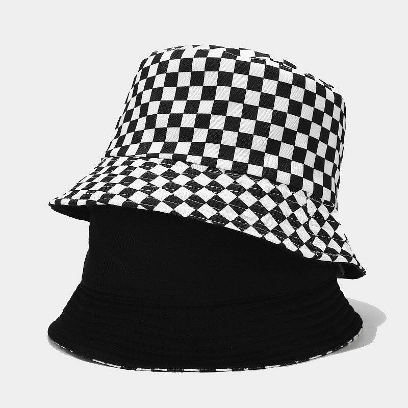 Women & Men Plaid Stripes Fashion Cotton Bucket Hat Two-Sided