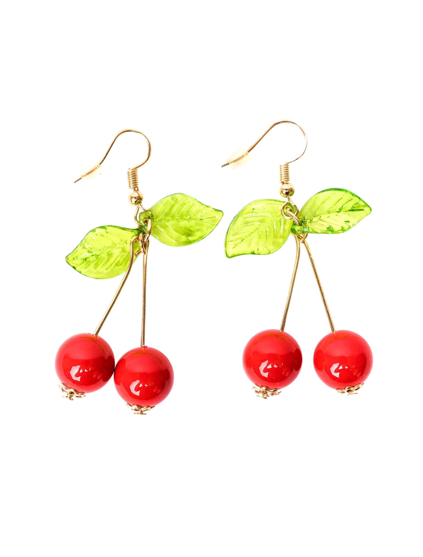 Kostuemzubehor Ohrringe Kirsche mit Blaettern Farbe: rot/gruen