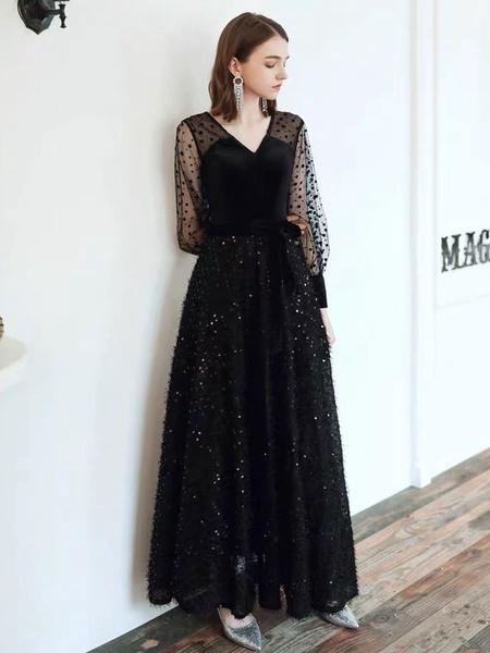 Milanoo Black Prom Dress V Neck A Line Long Sleeves Polka Dot Tulle Sequins Evening Dresses