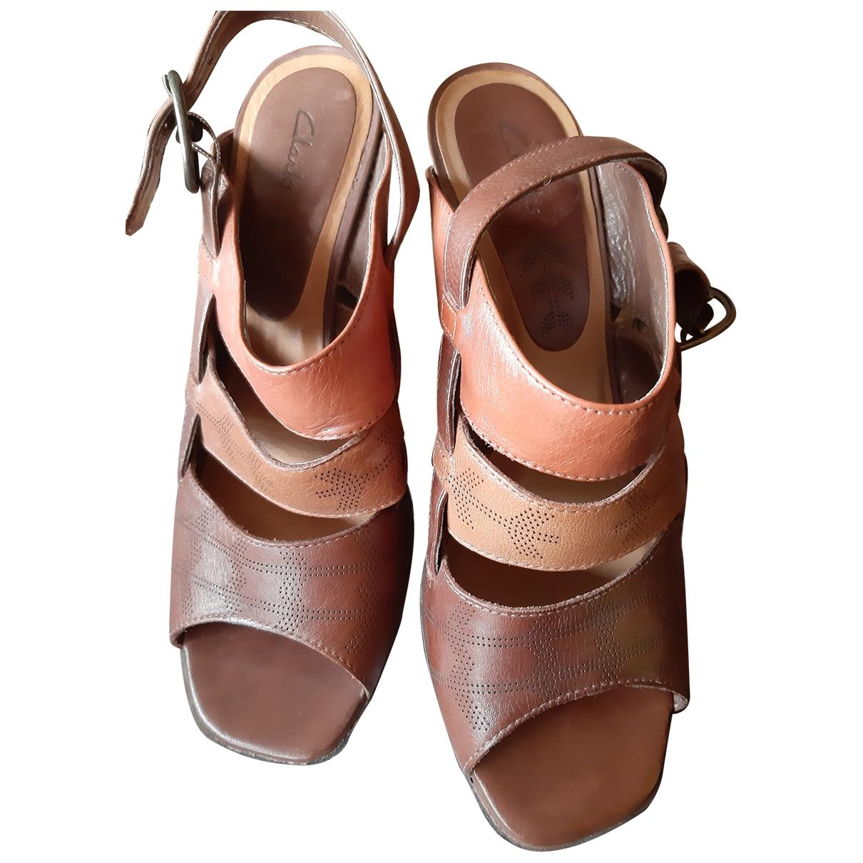 Clarks - Sandales   pour femme en cuir - marron