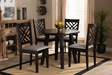 LILLY-GREY/DARK BROWN-5PC DINING SET Lilly Modern and Contemporary Grey Fabric Upholstered and Dark Brown Finished Wood 5-Piece Dining