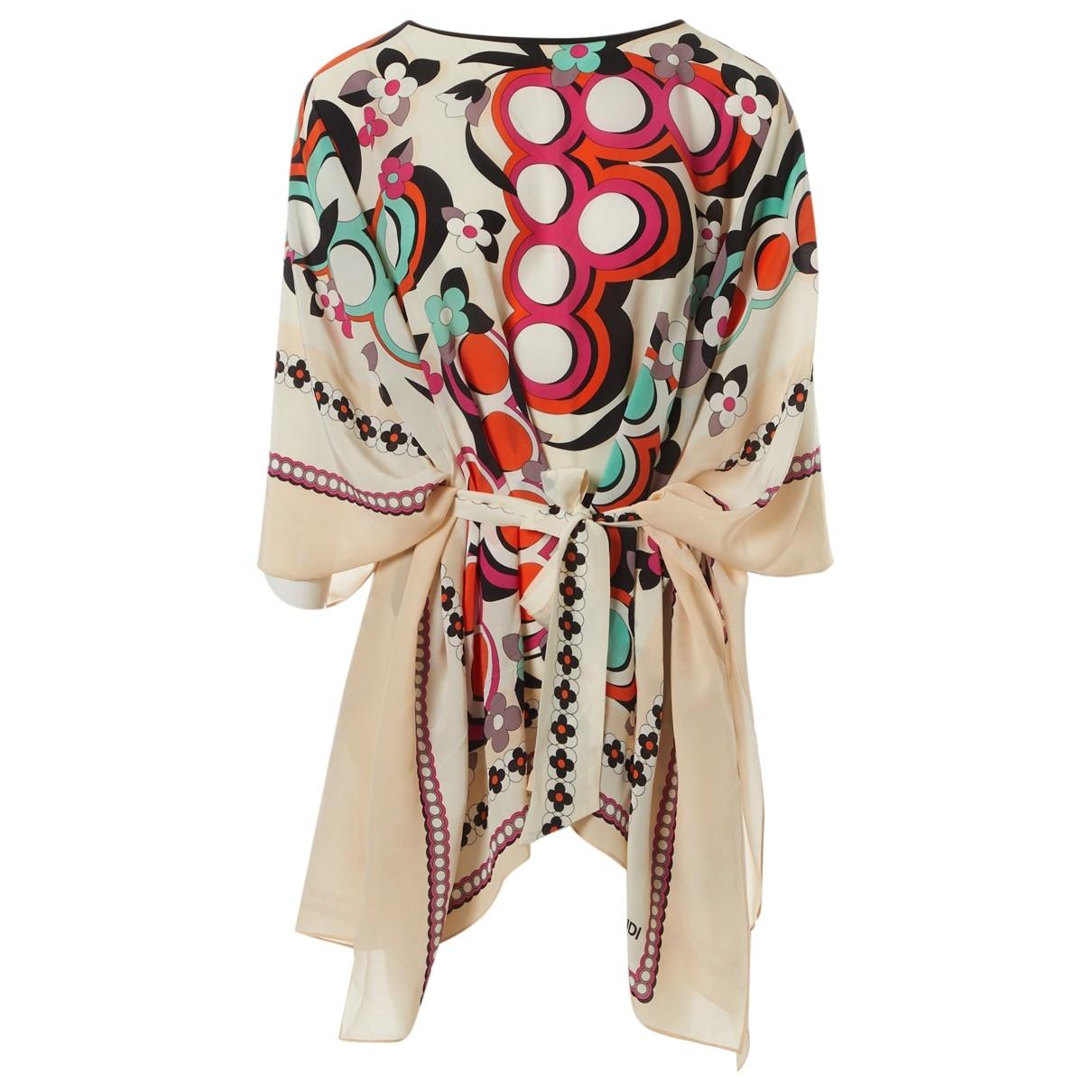 Fendi - Top   pour femme en soie - multicolore