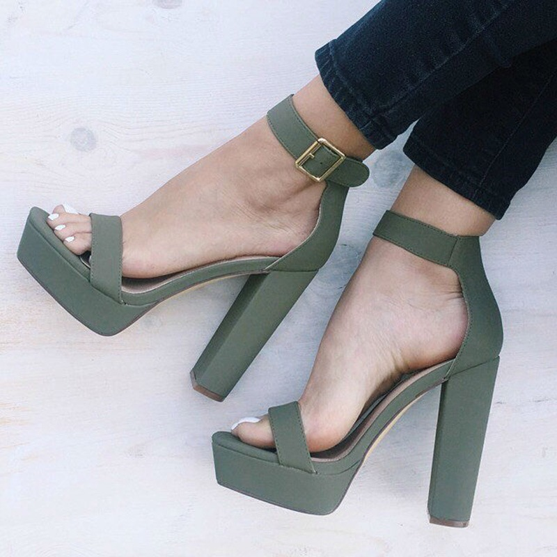 Ericdress Charming Platform Ankle Strap Chunky Sandals