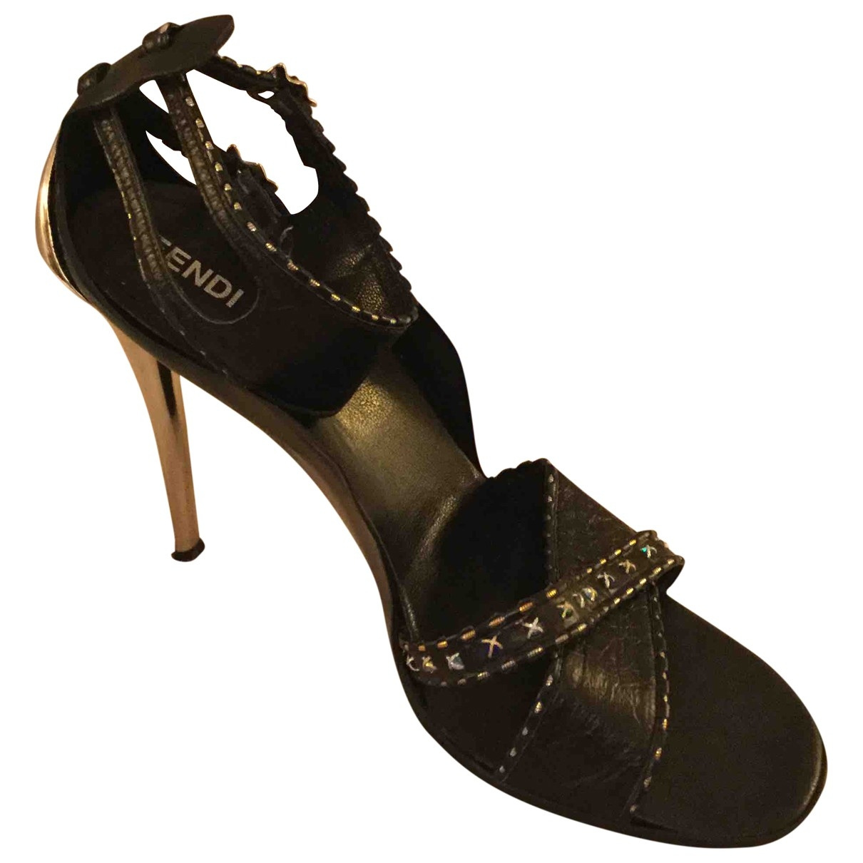 Fendi \N Sandalen in  Schwarz Leder