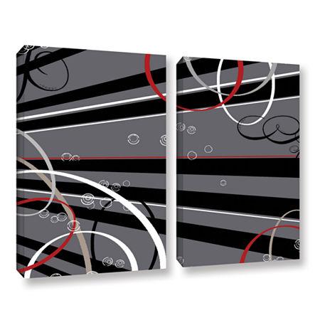 Brushstone Black Grey Memo Board 2-pc. Gallery Wrapped Canvas Wall Art, One Size , Black