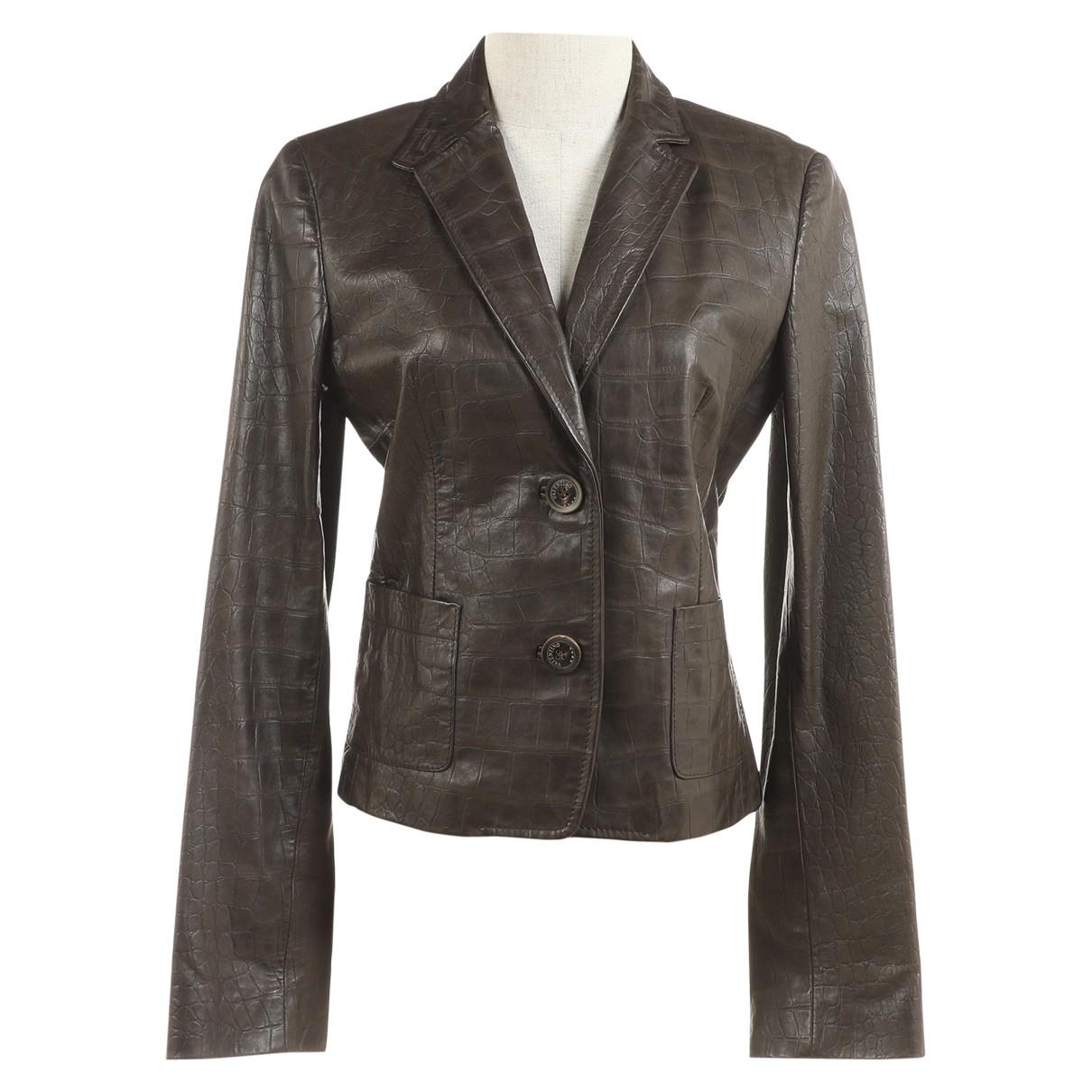 Valentino Garavani - Veste   pour femme en cuir - marron