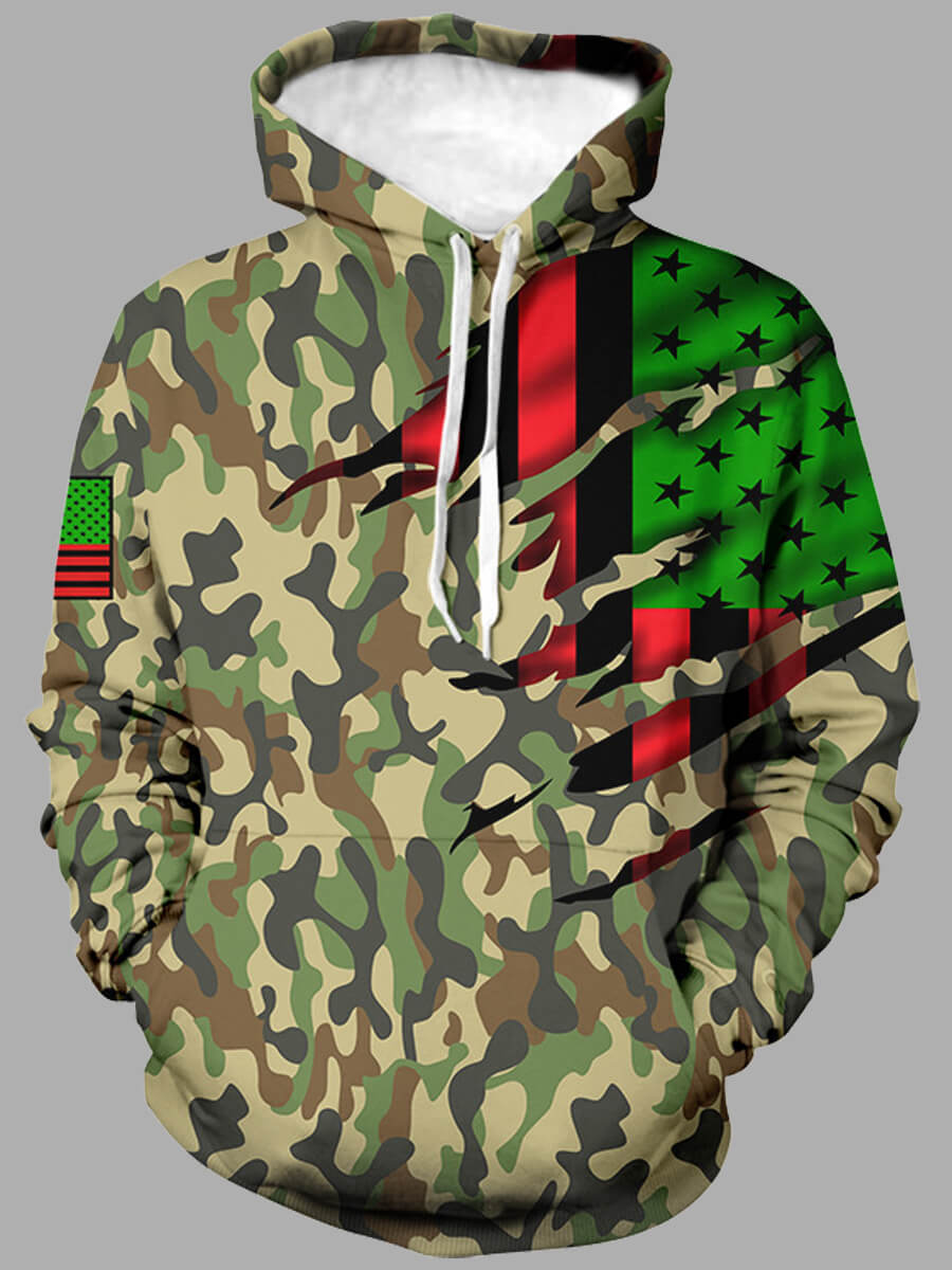 LW Lovely Street Hooded Collar Camo Print Multicolor Men Hoodie