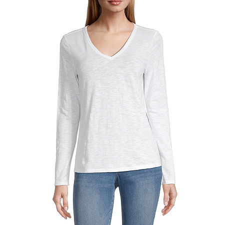 a.n.a-Womens V Neck Long Sleeve T-Shirt, Medium , White