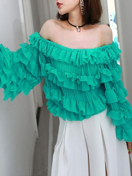 Milanoo Blouse For Women Chiffon Off The Shoulder Long Sleeve Ruffle Tops