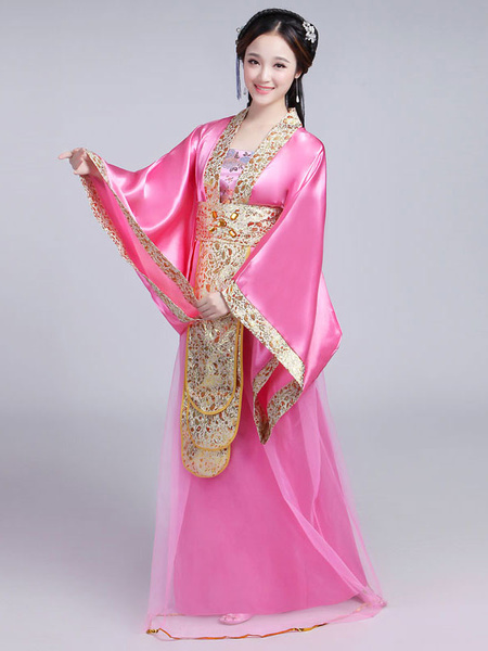 Milanoo Disfraz Halloween Traje chino tradicional mujer Saten rojo mujeres Hanfu vestido Ancient Tang Dynasty Clothing 3 piezas Carnaval Halloween
