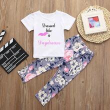 Kleinkind Maedchen T-Shirt mit Buchstaben Grafik und Hosen mit Blumen