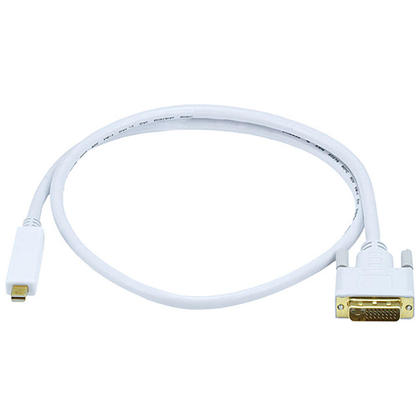 32AWG Mini DisplayPort to DVI Cable - White (4 Lengths Available) - Monoprice® - 3ft