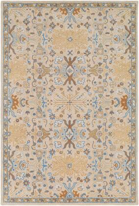 Tabriz TBZ-1008 8' x 10' Rectangle Traditional Rugs in Denim  Khaki  Tan  Light Gray  Medium Gray