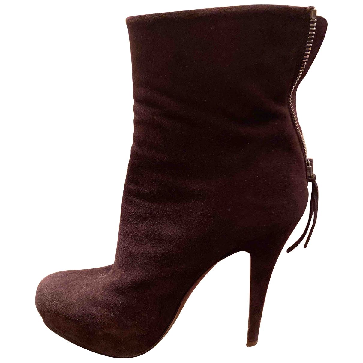 Miu Miu \N Brown Suede Ankle boots for Women 37 EU