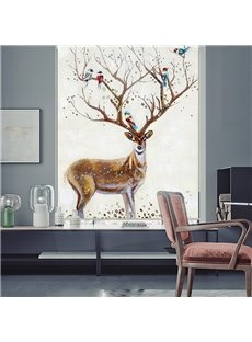 Peaceful Creative Elk and Birds Roller Shades