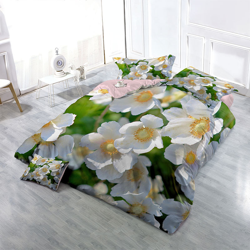 White Wildflowers Wear-resistant Breathable High Quality 60s Cotton 4-Piece 3D Bedding Sets