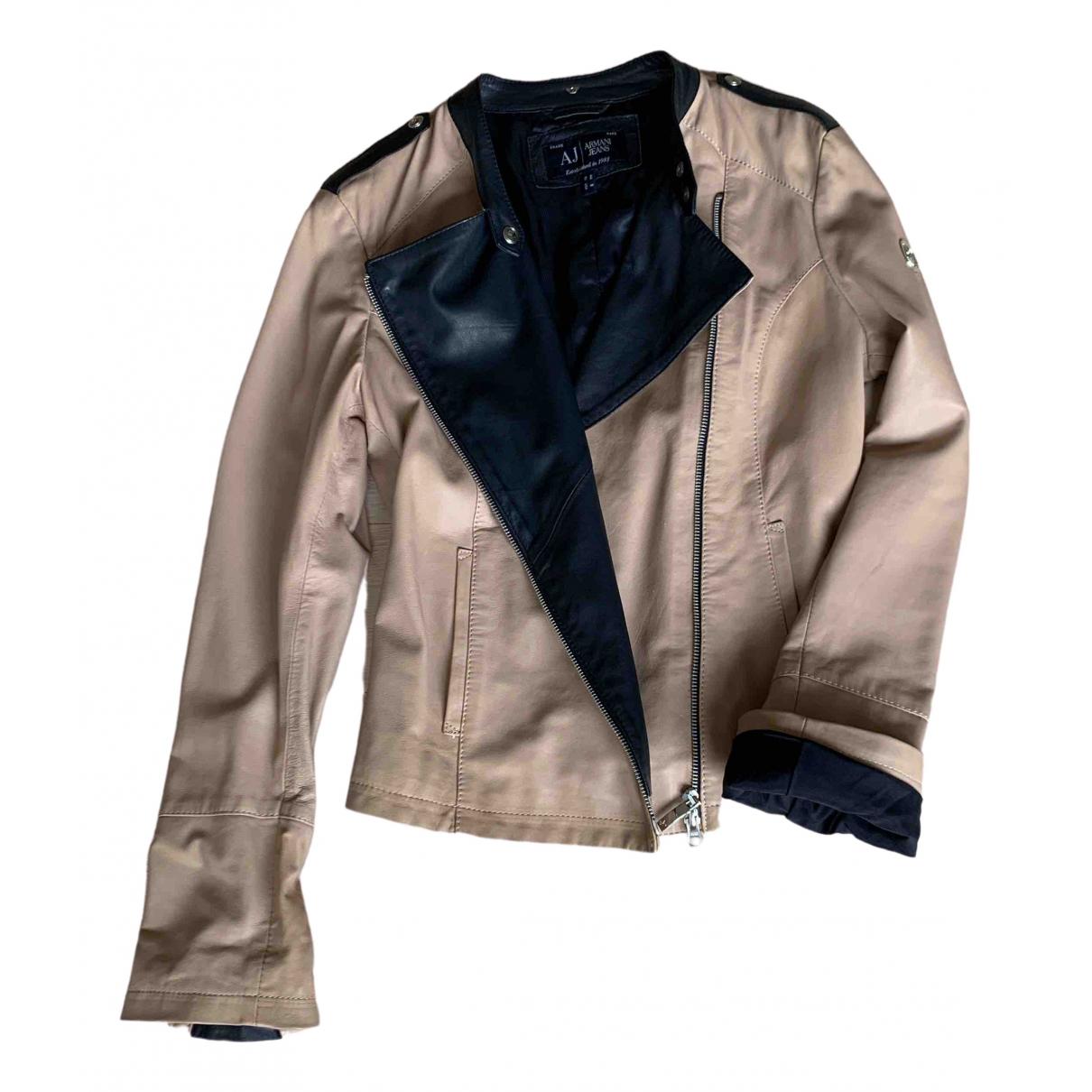 Armani Jeans \N Lederjacke in  Rosa Leder