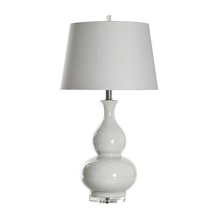 Stylecraft 18 W Cream Ceramic Table Lamp, One Size , White
