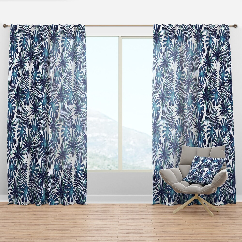 Designart 'Leaves and Brunches of Tropical Plants' Tropical Curtain Panel (50 in. wide x 63 in. high - 1 Panel)