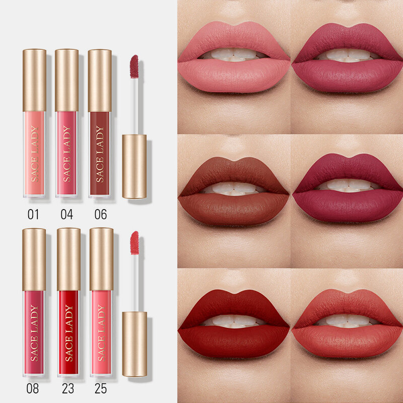 Combination Lip Glaze Set Waterproof Non-Stick Cup Long Lasting Lip Gloss Nude Makeup