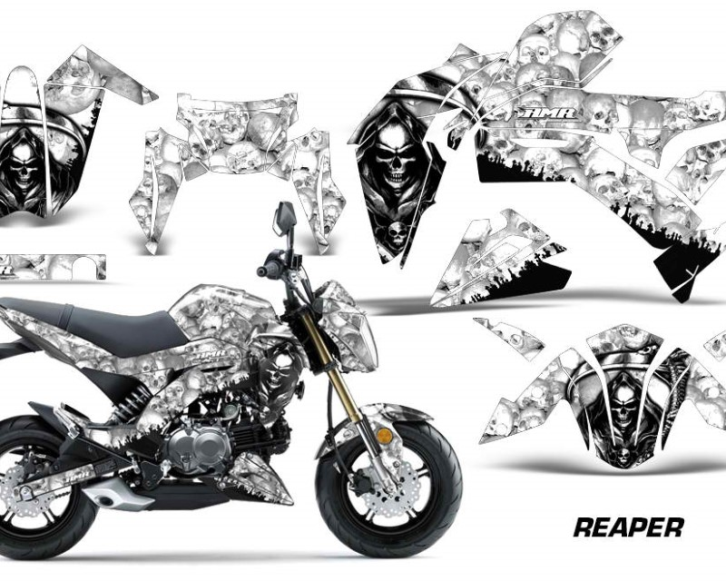 AMR Racing Dirt Bike Graphics Kit Decal Sticker Wrap For Kawasaki Z125 PRO 2017-2018áREAPER WHITE