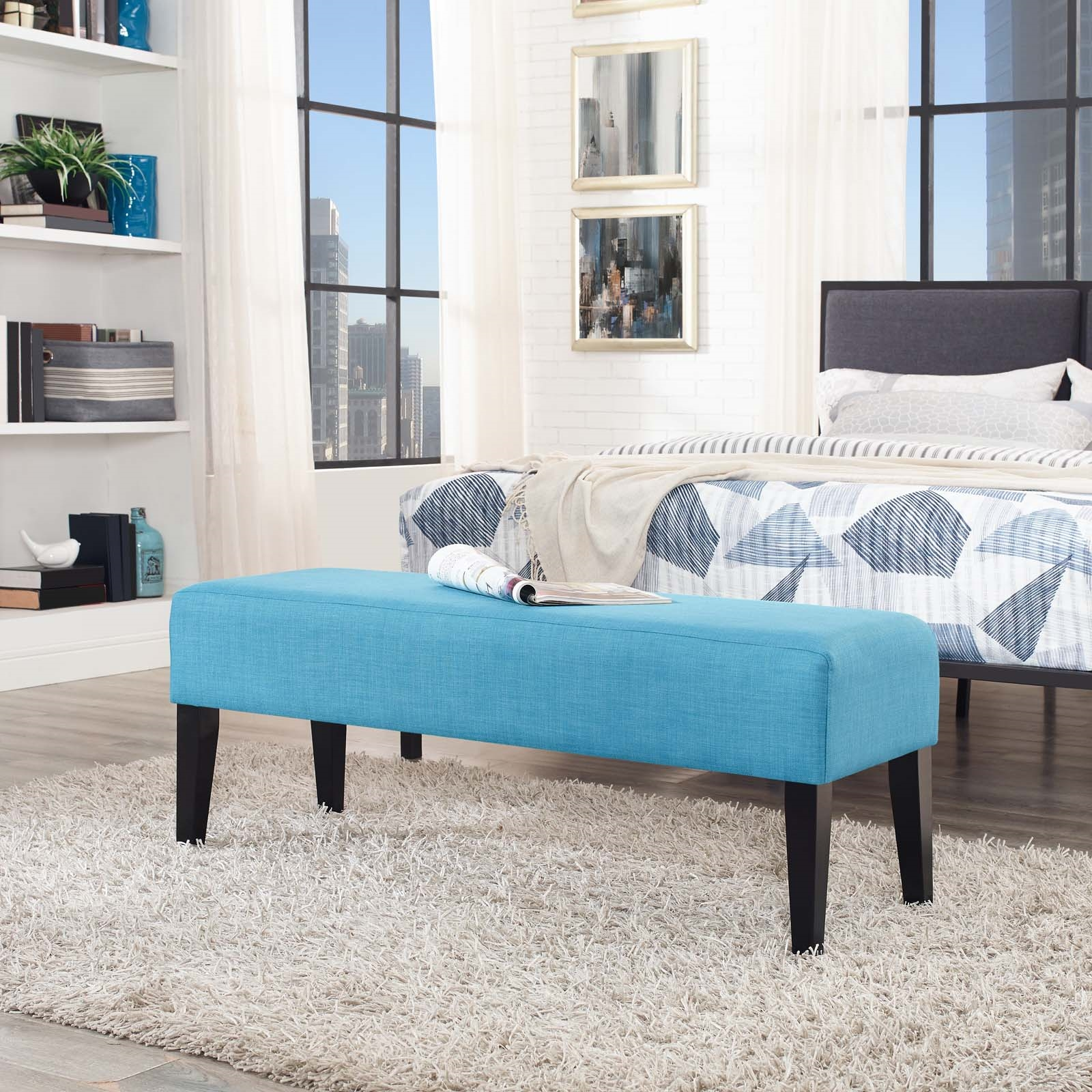 Connect Upholstered Fabric Bench in Pure Water