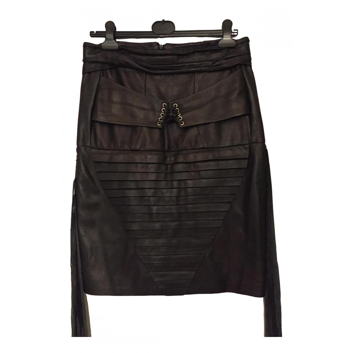 Kevok Kiledijan \N Black Leather skirt for Women 42 FR