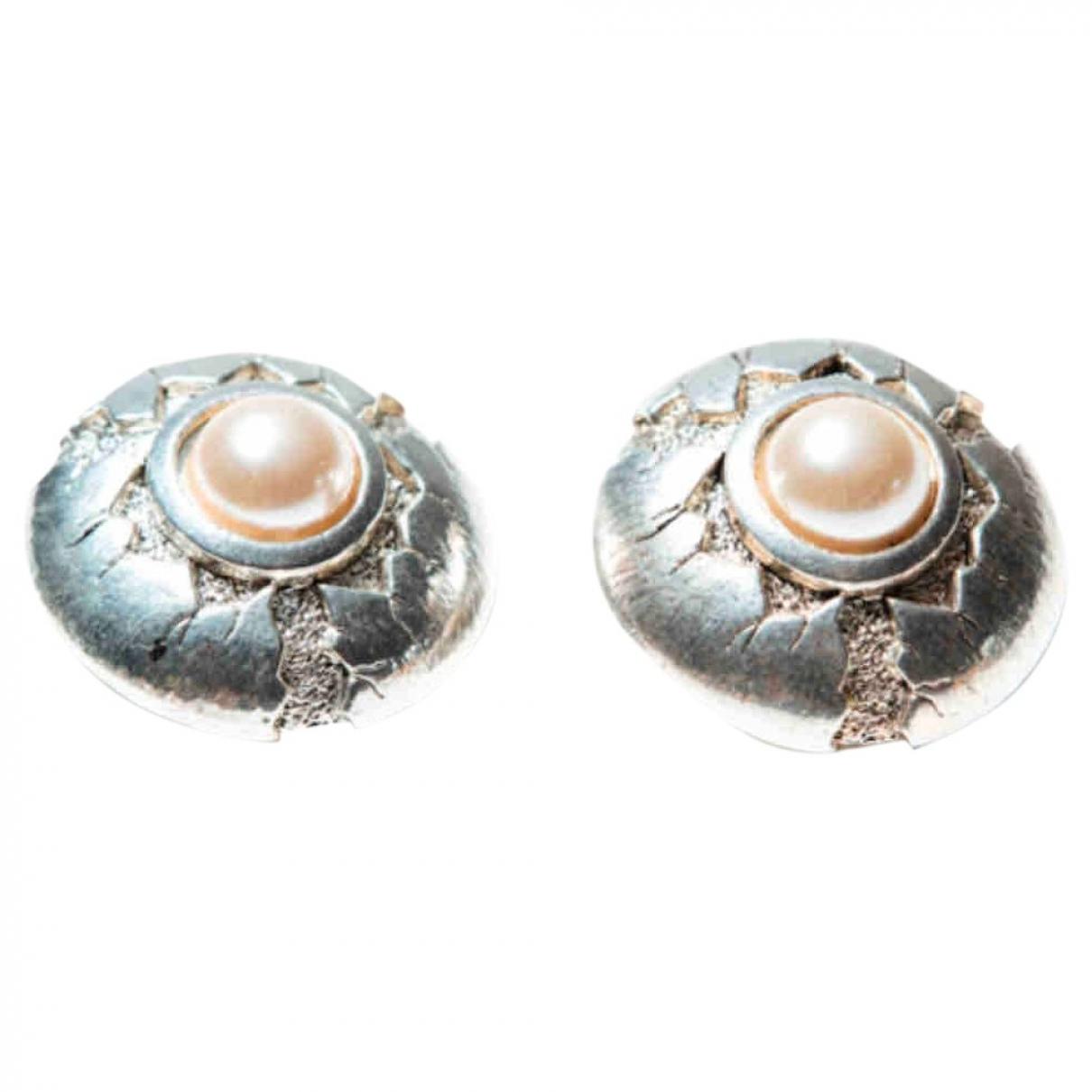 Abbeyroad - Boucles doreilles   pour femme en plaque argent - blanc