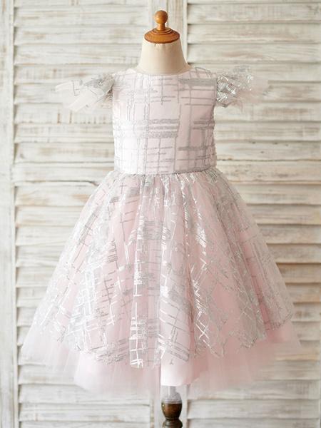 Milanoo Vestidos de niña de flores Cuello joya Lentejuelas Manga corta Hasta la rodilla Princesa Silueta Arcos Vestidos de fiesta para niños