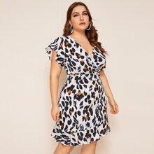 Kleid mit Leopard Muster und Rueschen