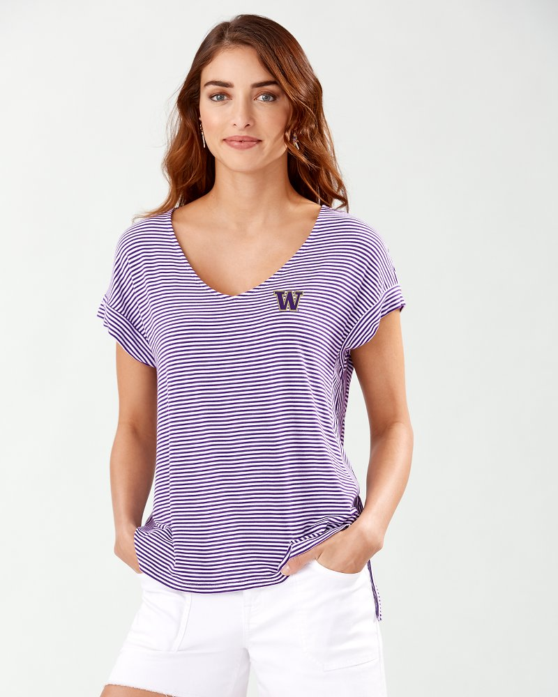Collegiate Cassia Stripe Sealight V-Neck T-Shirt