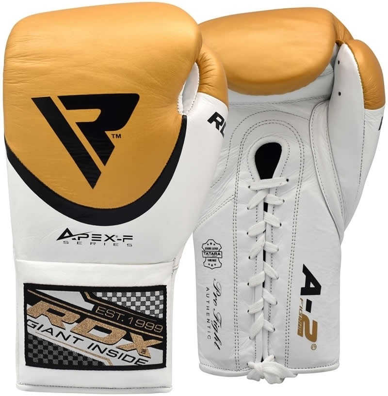 RDX A2 Leather Golden / White Pro 10oz Boxing Fight Gloves Professional Lace Up Punching Competition for Men and Women