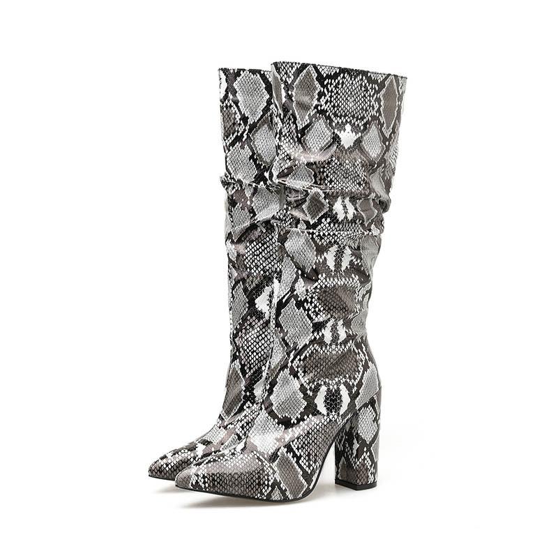 Ericdress Side Zipper Chunky Heel Serpentine Knee High Boots
