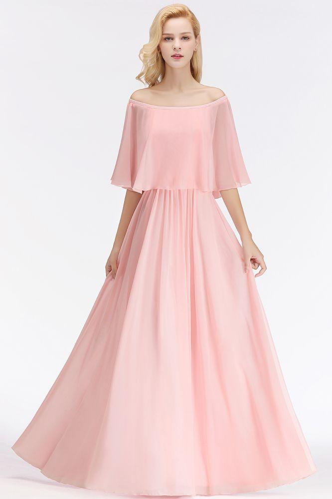 NOAH | Robes de demoiselle d'honneur rose a manches longues