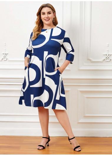 Geometric Print Pocket Plus Size Dress - 4XL