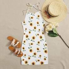 Sunflower Print Halter Bodycon Dress