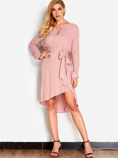 Yoins Pink Cut Out Details Self-tie Waist Crew Neck Long Sleeves High-low Hem Dress