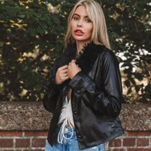 Faux Fur Collar PU Leather Jacket