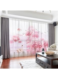 3D Romantic World Pink Trees and A Pair of Swans Printed 2 Panels Custom Sheer