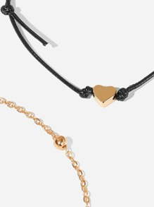 Heart Detail Anklet 2pcs